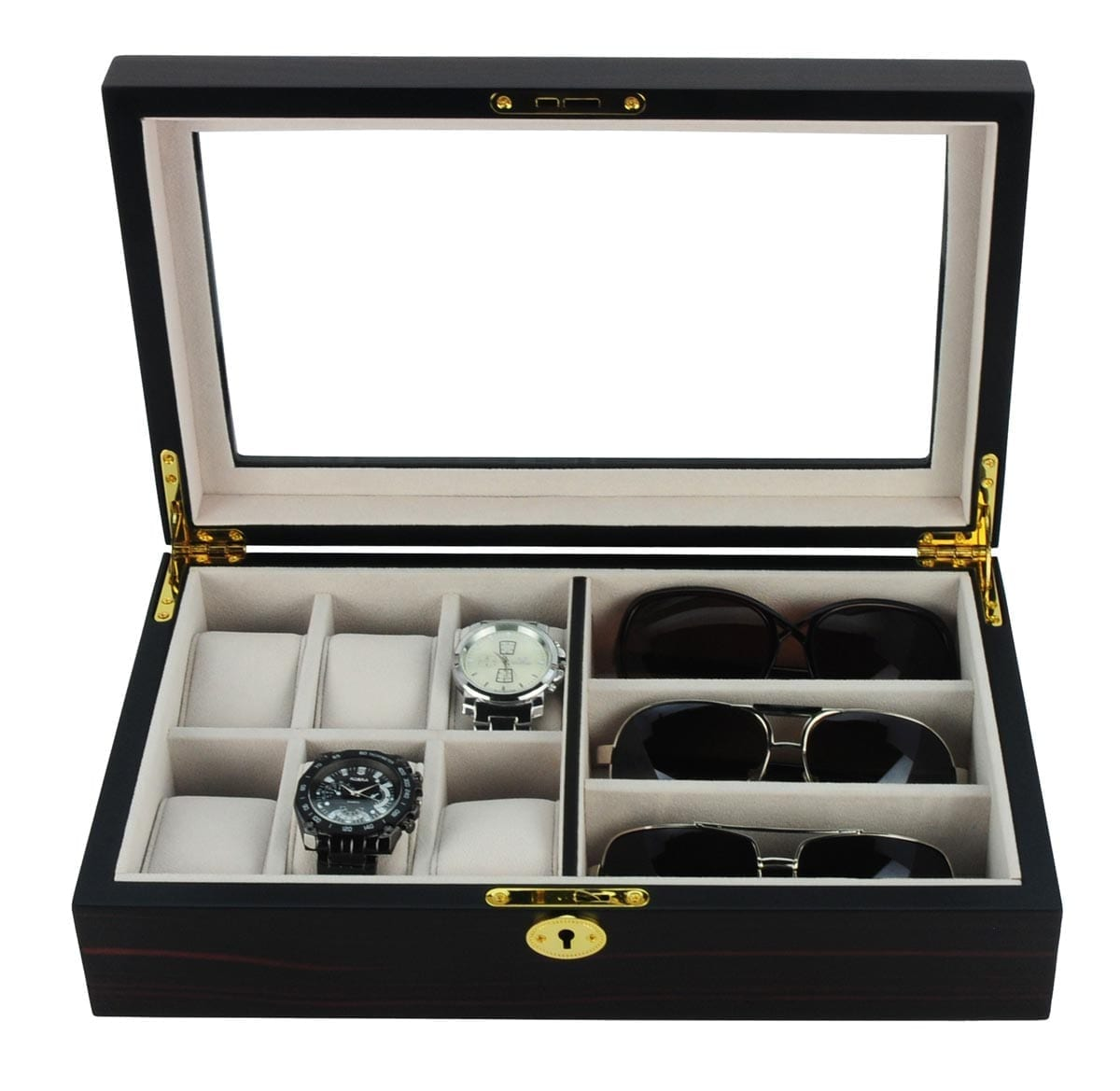 wooden sunglass box matt display