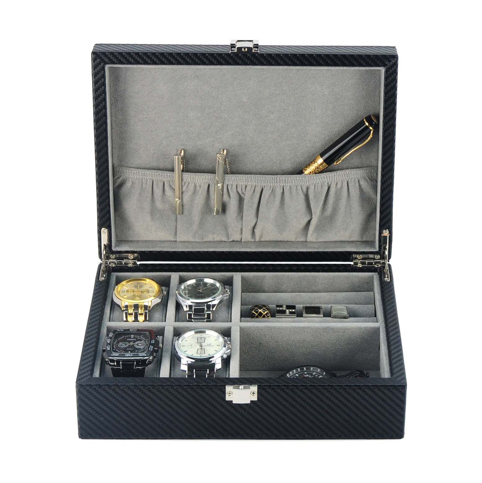 Watch cufflink box jewellery display cases organiser for ...