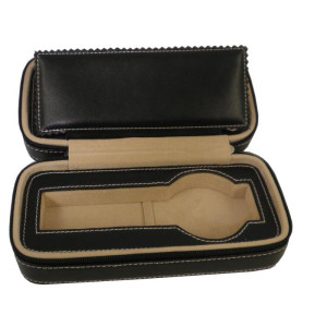 Genuine leather travel watch case black for 2 watches