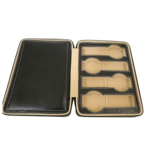 Genuine leather travel watch case black for 8 watches