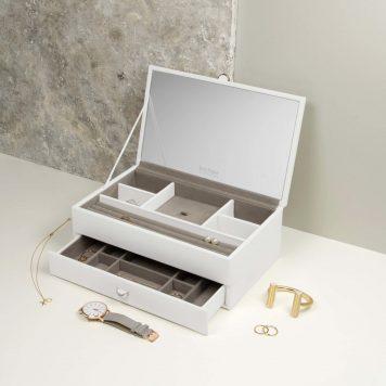 3c0eae489 Boutique leather jewellery box medium white / blush / Dove Grey